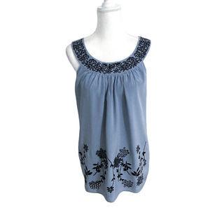 Karen Kane 100% Silk Beaded Embroidered Blouse